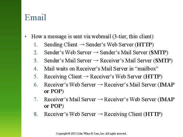 Email • How a message is sent via webmail (3 -tier, thin client) 1.