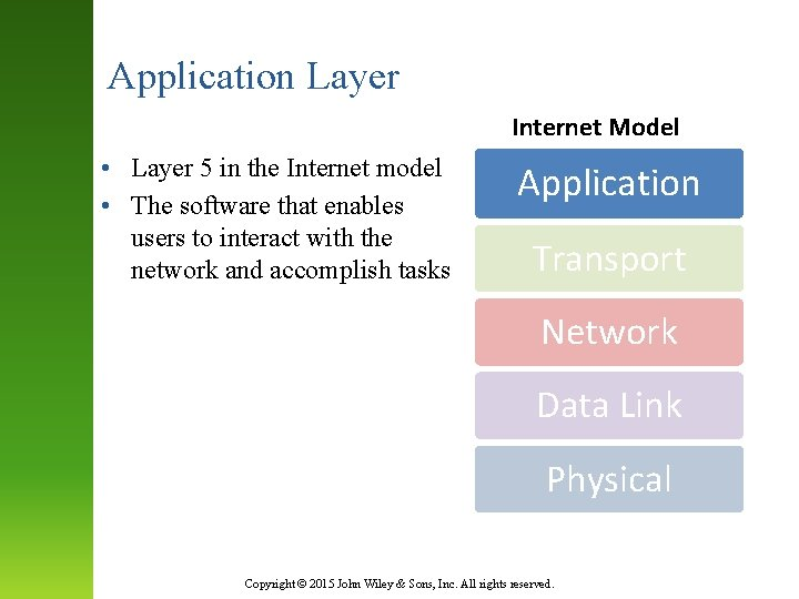 Application Layer Internet Model • Layer 5 in the Internet model • The software