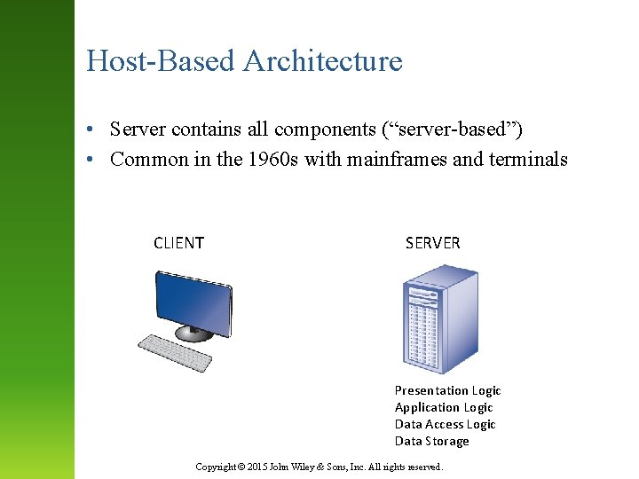 """Host-Based Architecture • Server contains all components (""""server-based"""") • Common in the 1960 s"""