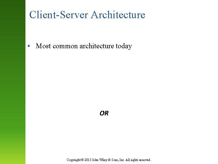 Client-Server Architecture • Most common architecture today CLIENT SERVER OR Presentation Logic Application Logic