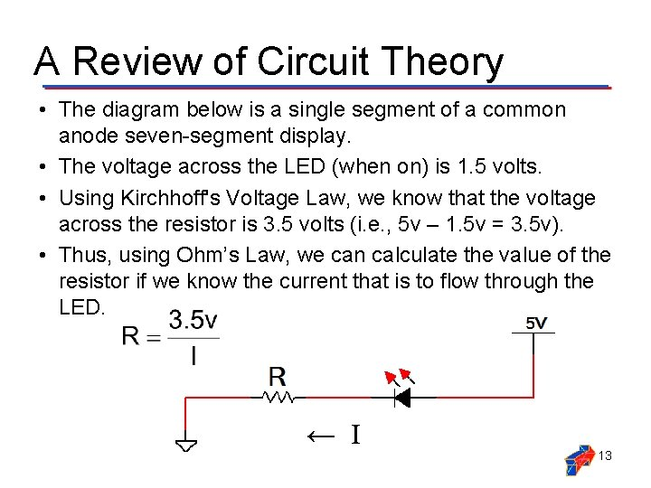 A Review of Circuit Theory • The diagram below is a single segment of