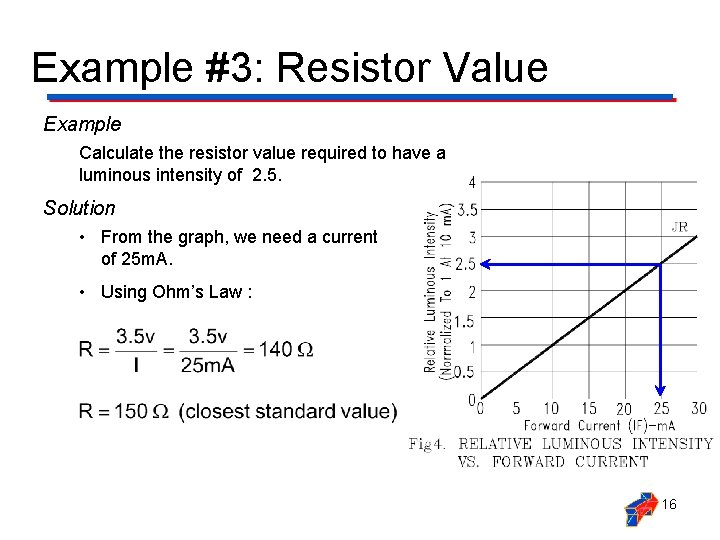 Example #3: Resistor Value Example Calculate the resistor value required to have a luminous