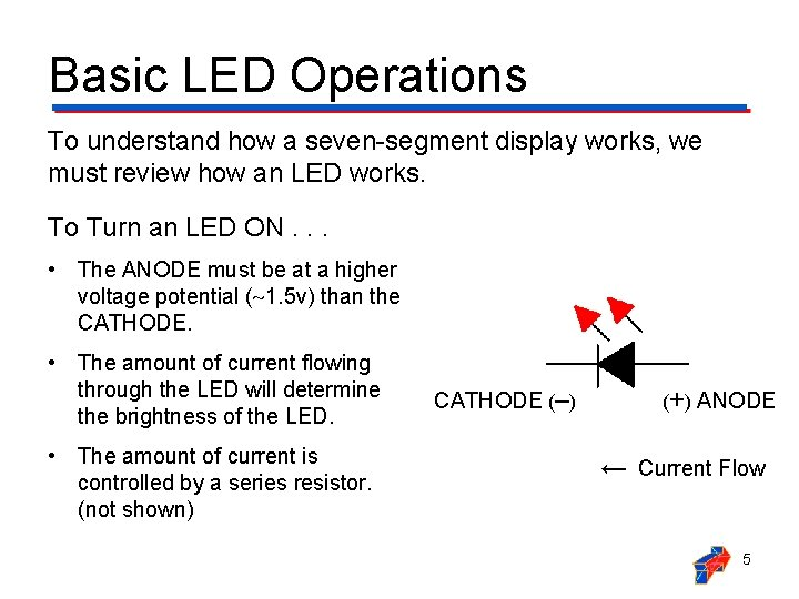 Basic LED Operations To understand how a seven-segment display works, we must review how