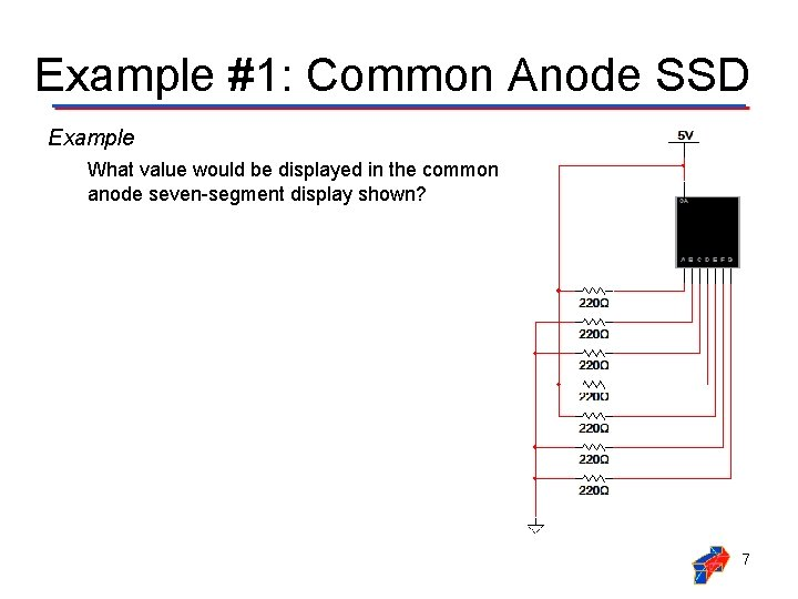 Example #1: Common Anode SSD Example What value would be displayed in the common