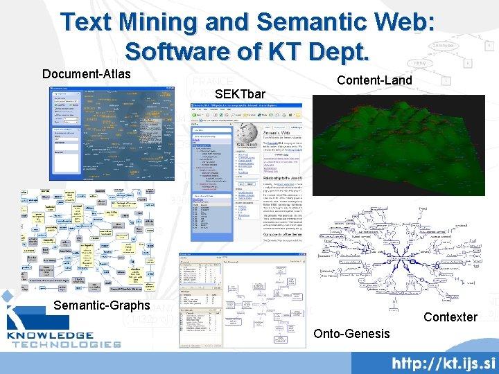 Text Mining and Semantic Web: Software of KT Dept. Document-Atlas SEKTbar Content-Land Semantic-Graphs Contexter
