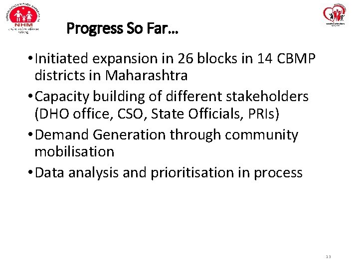 Progress So Far… • Initiated expansion in 26 blocks in 14 CBMP districts in