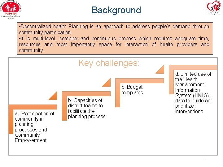 Background • Decentralized health Planning is an approach to address people's demand through community