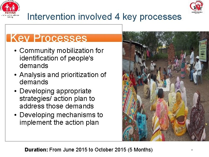 Intervention involved 4 key processes Key Processes • Community mobilization for identification of people's