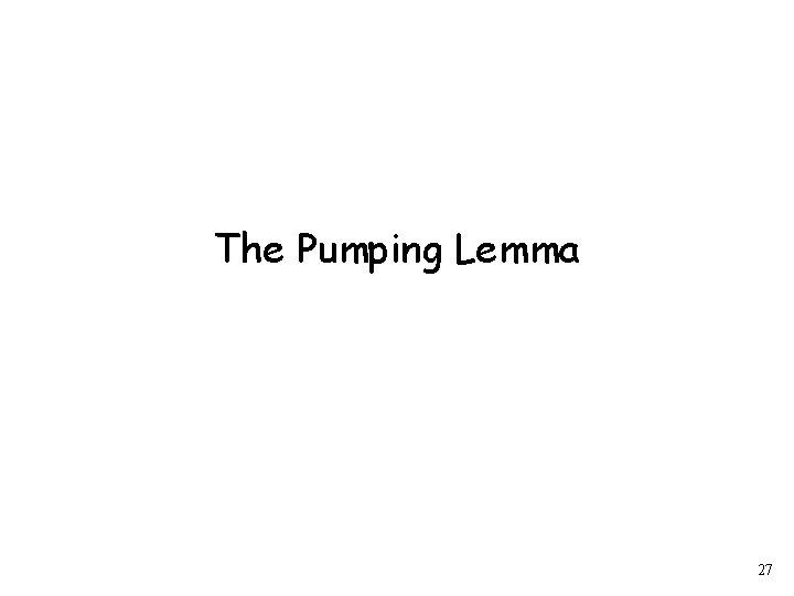 The Pumping Lemma 27