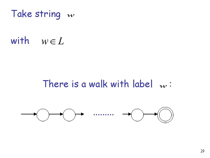 Take string with There is a walk with label : . . 29