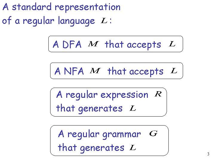 A standard representation of a regular language : A DFA that accepts A NFA