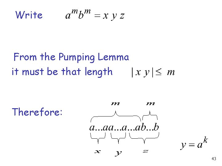Write From the Pumping Lemma it must be that length Therefore: 43