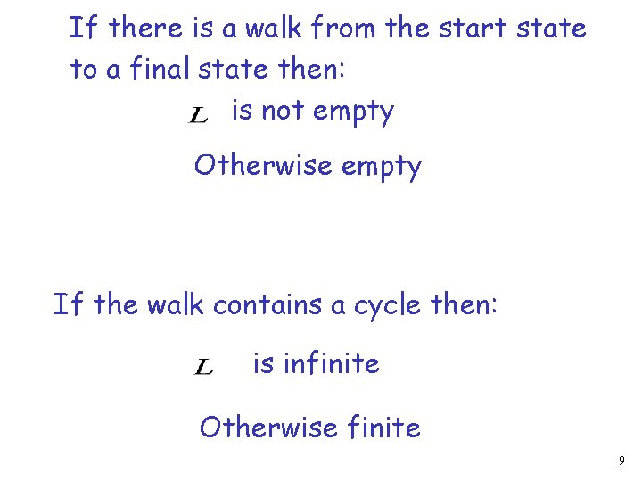If there is a walk from the start state to a final state then: