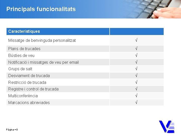 Principals funcionalitats Característiques Missatge de benvinguda personalitzat √ Plans de trucades √ Bústies de
