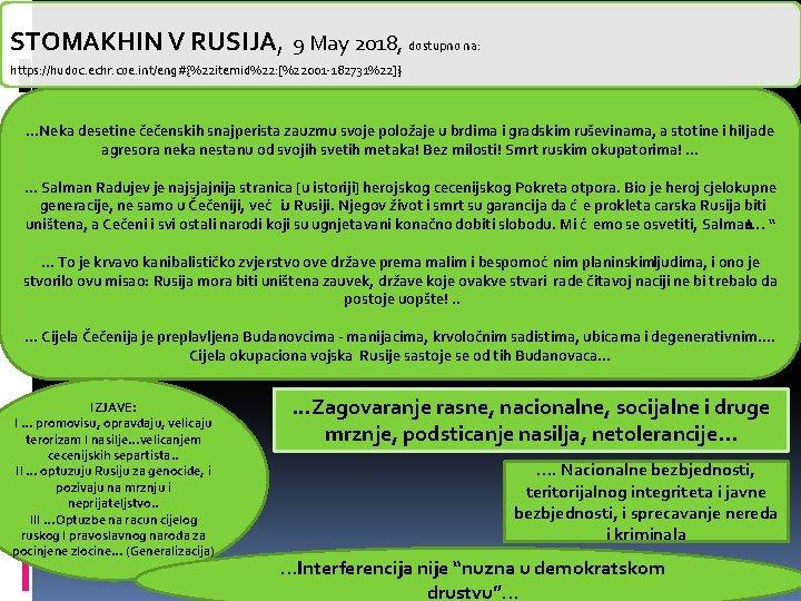 STOMAKHIN V RUSIJA, 9 May 2018, dostupno na: https: //hudoc. echr. coe. int/eng#{%22