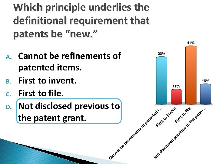 """Which principle underlies the definitional requirement that patents be """"new. """" A. B. C."""