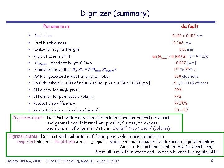 Digitizer (summary) Parameters default • Pixel sizes 0, 150 x 0, 150 mm •