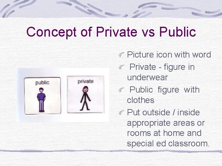 Concept of Private vs Public Picture icon with word Private - figure in underwear