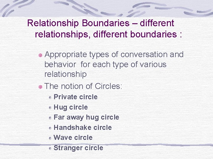Relationship Boundaries – different relationships, different boundaries : Appropriate types of conversation and behavior