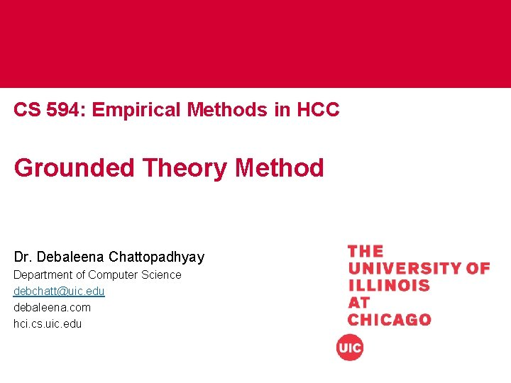 CS 594: Empirical Methods in HCC Grounded Theory Method Dr. Debaleena Chattopadhyay Department of