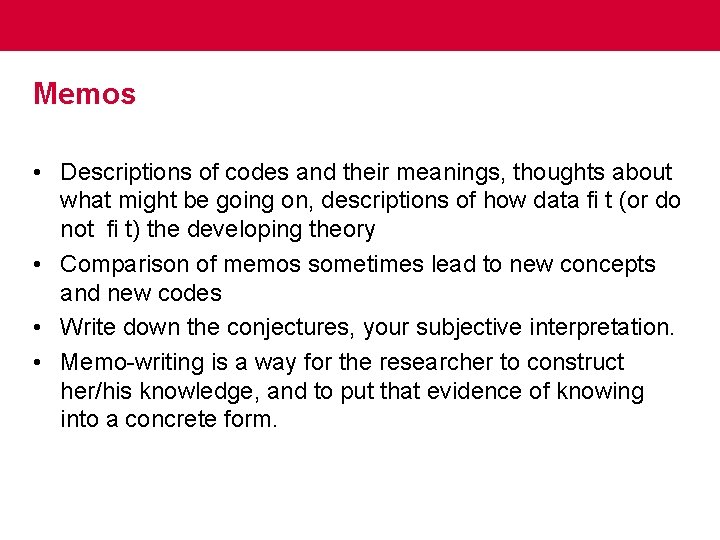 Memos • Descriptions of codes and their meanings, thoughts about what might be going