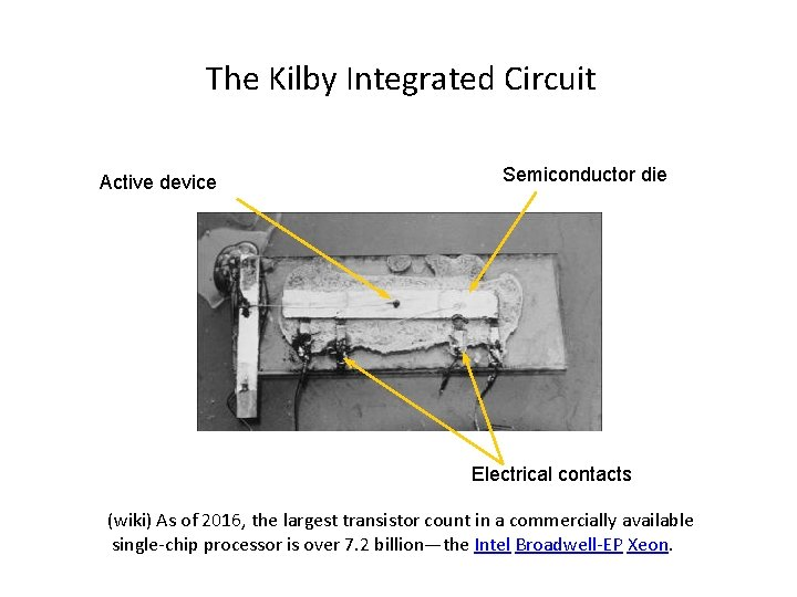 The Kilby Integrated Circuit Active device Semiconductor die Electrical contacts (wiki) As of 2016,