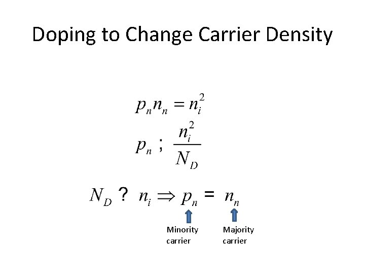 Doping to Change Carrier Density Minority carrier Majority carrier