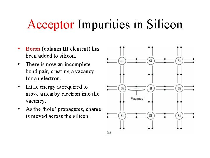 Acceptor Impurities in Silicon • Boron (column III element) has been added to silicon.