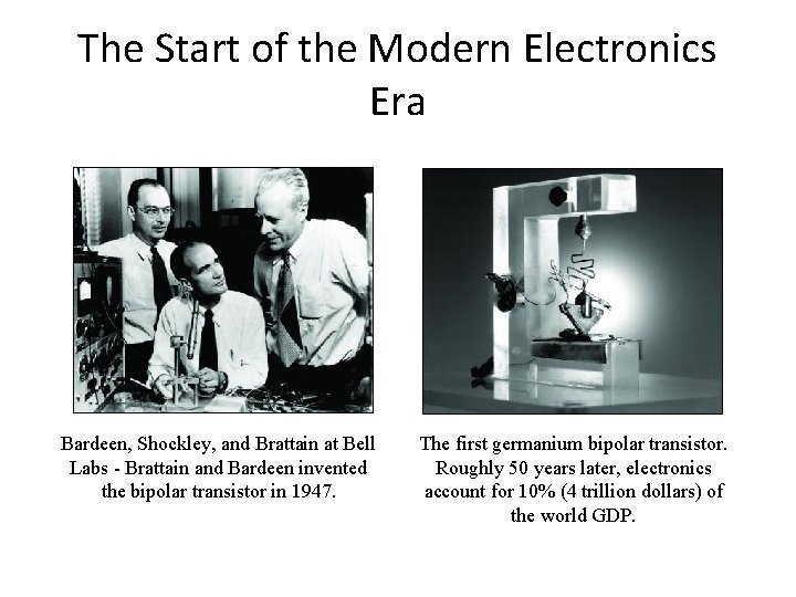 The Start of the Modern Electronics Era Bardeen, Shockley, and Brattain at Bell Labs