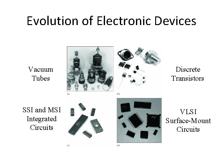 Evolution of Electronic Devices Vacuum Tubes Discrete Transistors SSI and MSI Integrated Circuits VLSI