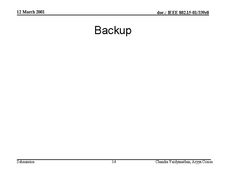 12 March 2001 doc. : IEEE 802. 15 -01/339 r 0 Backup Submission 14