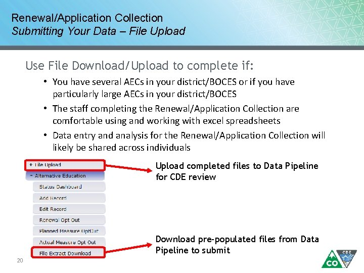 Renewal/Application Collection Submitting Your Data – File Upload Use File Download/Upload to complete if: