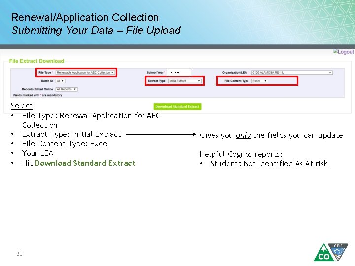 Renewal/Application Collection Submitting Your Data – File Upload 2019 -20 Select • File Type: