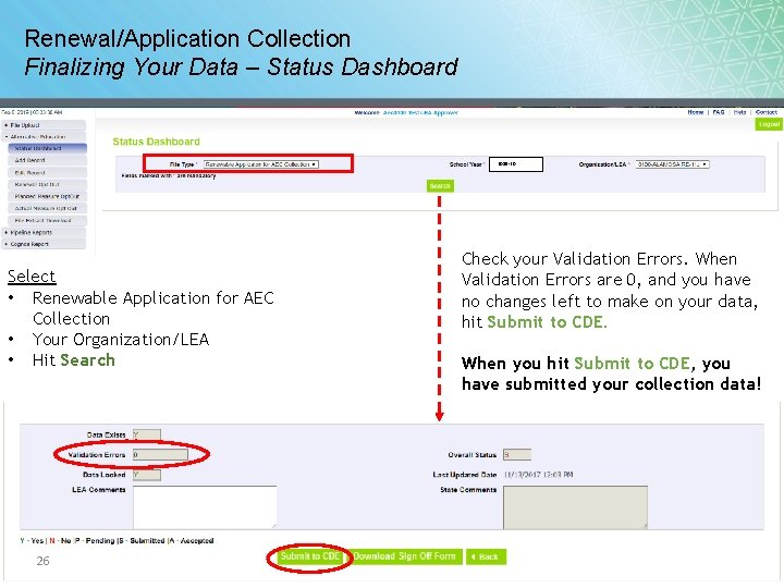 Renewal/Application Collection Finalizing Your Data – Status Dashboard 2019 -20 Select • Renewable Application
