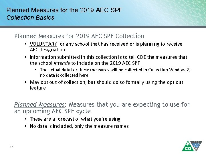 Planned Measures for the 2019 AEC SPF Collection Basics Planned Measures for 2019 AEC