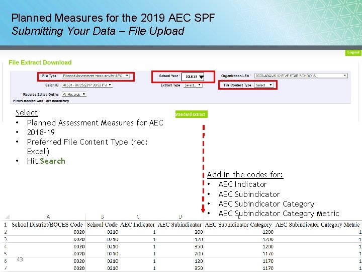 Planned Measures for the 2019 AEC SPF Submitting Your Data – File Upload 2018