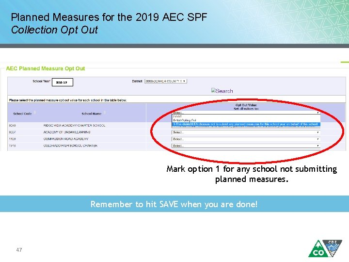 Planned Measures for the 2019 AEC SPF Collection Opt Out 2018 -19 Mark option