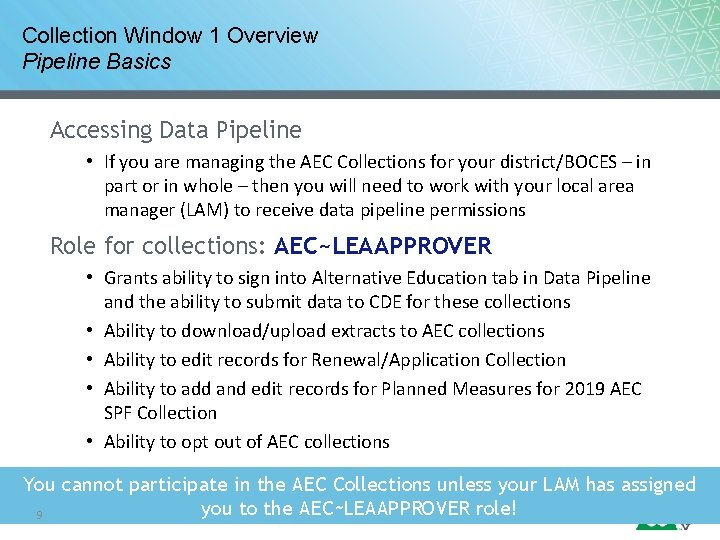 Collection Window 1 Overview Pipeline Basics Accessing Data Pipeline • If you are managing