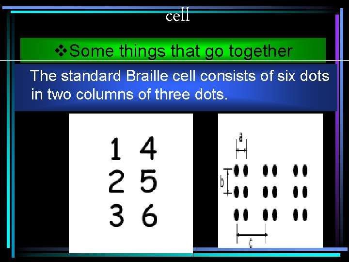 cell v. Some things that go together The standard Braille cell consists of six