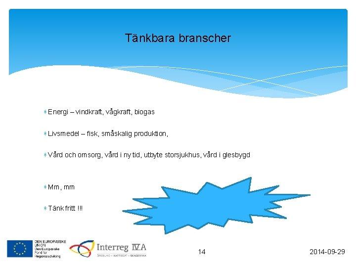 Tänkbara branscher ∗ Energi – vindkraft, vågkraft, biogas ∗ Livsmedel – fisk, småskalig produktion,