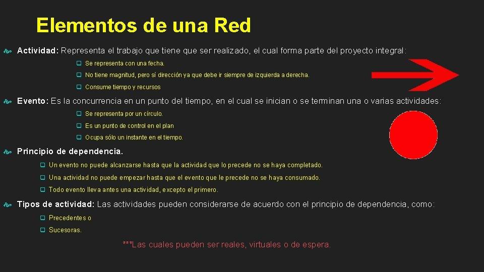 Elementos de una Red Actividad: Representa el trabajo que tiene que ser realizado, el