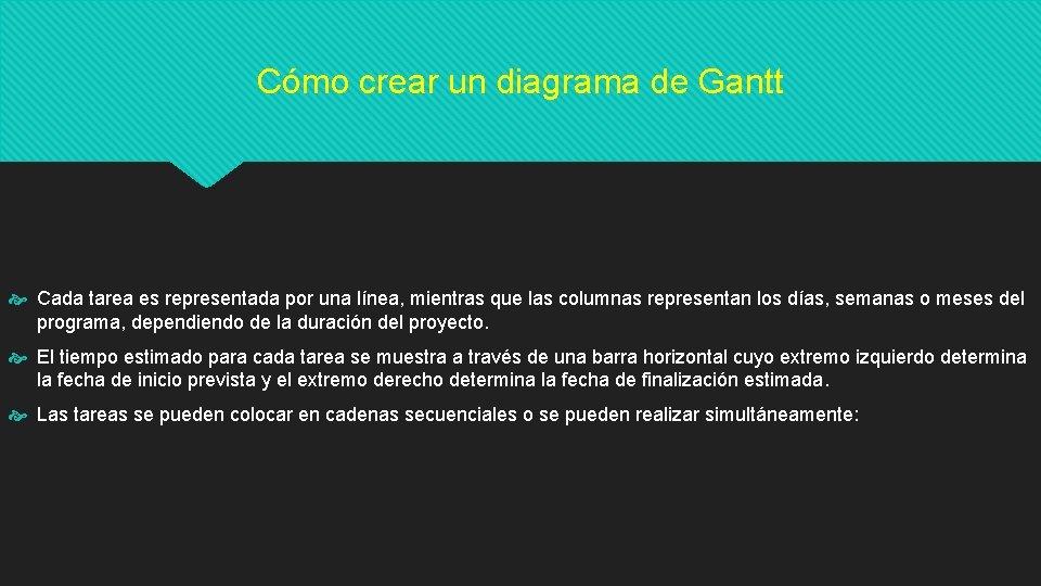 Cómo crear un diagrama de Gantt Cada tarea es representada por una línea, mientras