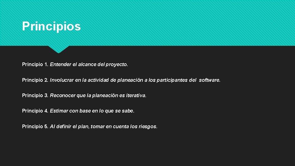 Principios Principio 1. Entender el alcance del proyecto. Principio 2. Involucrar en la actividad