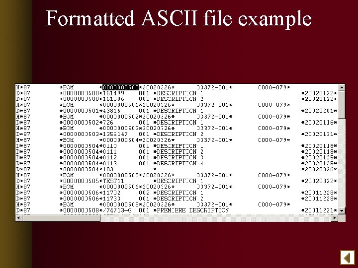 Formatted ASCII file example