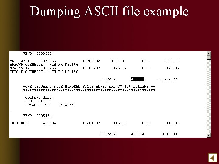 Dumping ASCII file example