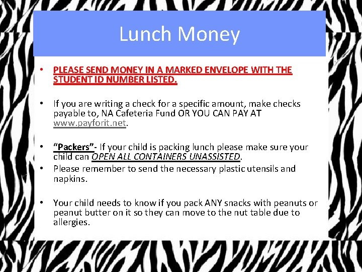 Lunch Money • PLEASE SEND MONEY IN A MARKED ENVELOPE WITH THE STUDENT ID