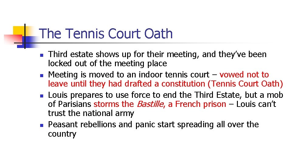 The Tennis Court Oath n n Third estate shows up for their meeting, and