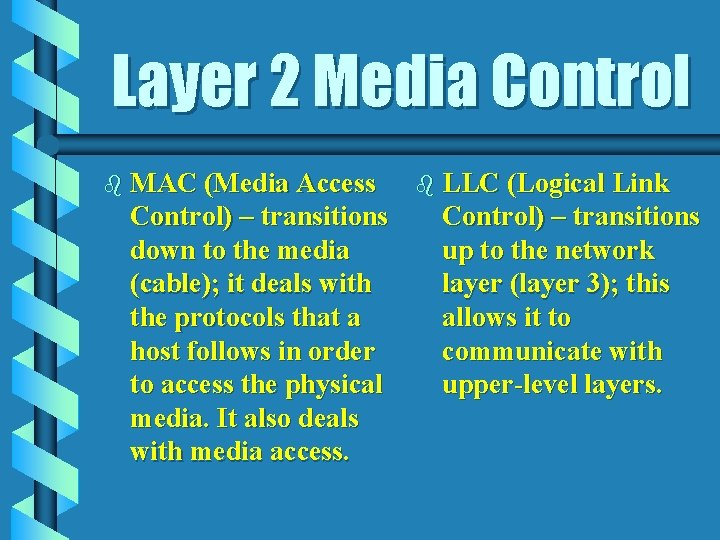 Layer 2 Media Control b MAC (Media Access Control) – transitions down to the