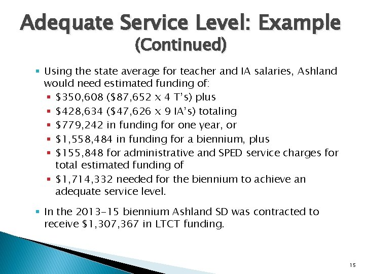 Adequate Service Level: Example (Continued) § Using the state average for teacher and IA