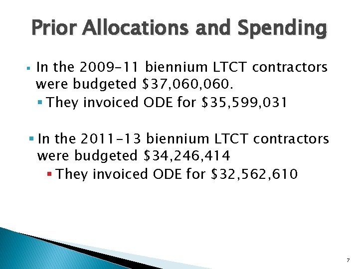 Prior Allocations and Spending § In the 2009 -11 biennium LTCT contractors were budgeted